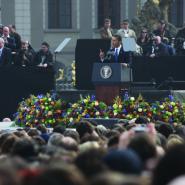Americký prezident Obama Projev na Hradčanském nám. v Praze